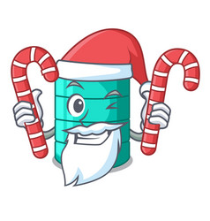 Santa with candy cartoon water tank for in vector