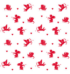 seamless pattern with cupids vector image