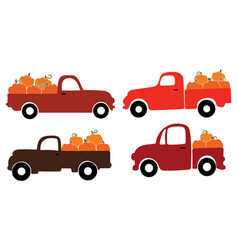 Set american pickups with pumpkins farmers car vector