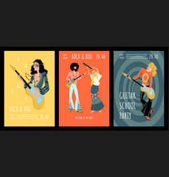 set banners for a party in a retro style vector image
