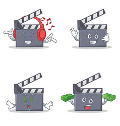 Set of movie clapper character with listening call vector