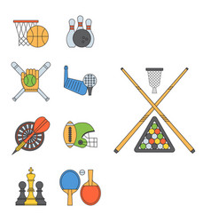 set sport icons in flat design line pictograph vector image