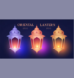 shining oriental lantern with light arabic and vector image