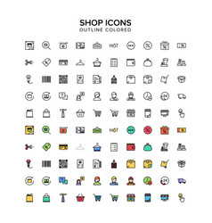Shop outline icon colored set vector