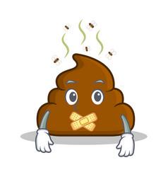 Silent poop emoticon character cartoon vector
