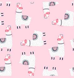 sketch llama seamless pattern for boys vector image