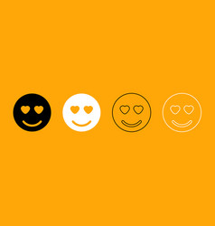 smile black and white set icon vector image