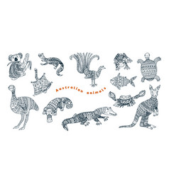 Stylized australian animals collection vector