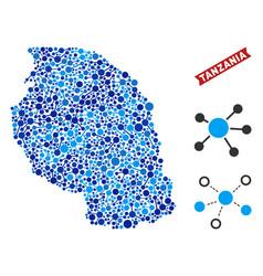 tanzania map connections composition vector image