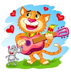 the funny singing cat with guitar vector image
