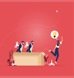 Thinking outside box concept vector
