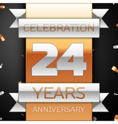 Twenty four years anniversary celebration golden vector
