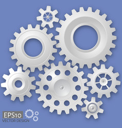 white 3d gears on the gray background infographic vector image