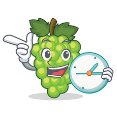 with clock green grapes character cartoon vector image