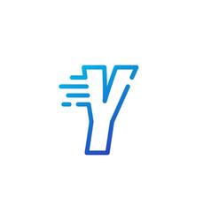 Y letter dash fast quick digital mark line vector