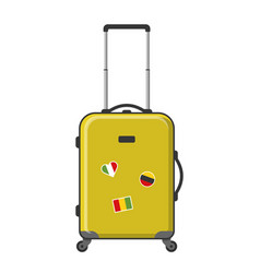 Yellow suitcase isolated vector