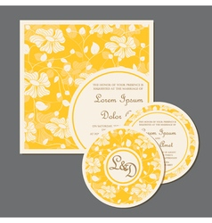 Yellow wedding invitation cards set with flowers vector