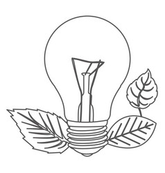 Grayscale contour with light bulb and leaves vector
