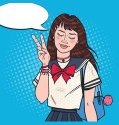 pop art japanese school girl in uniform vector image