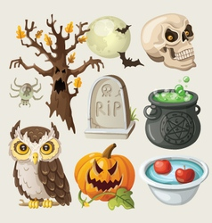 Set of colorful items for halloween vector image