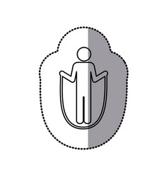 sticker of monochrome pictogram with training in vector image