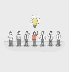 one unique businessman with light bulb of idea in vector image