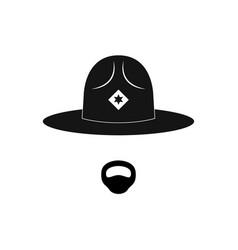 sheriff avatar mustachioed policeman in circle vector image