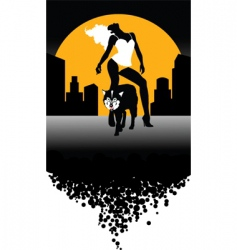 wolf and woman vector image vector image