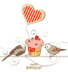 Birthday card with cute birds cupcake and heart vector image
