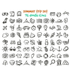 doodle summer trip icons set vector image
