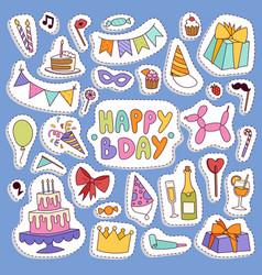 happy birthday party symbols carnival vector image