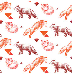 seamless pattern with hand drawn foxes vector image vector image