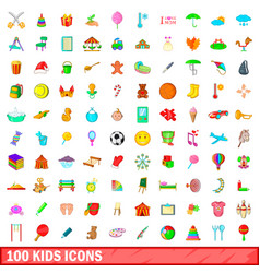 100 kids icons set cartoon style vector image vector image