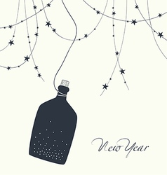 a bottle of champagne and new year123 vector image
