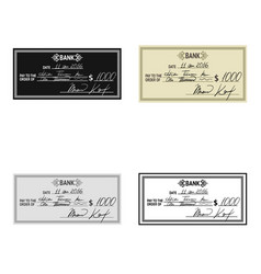 cheque icon in cartoon style isolated on white vector image