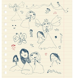 Childrens sketch on sheet for your design vector image vector image