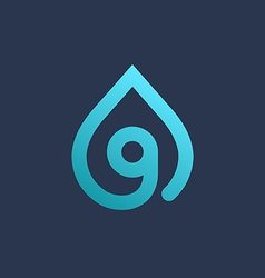 Letter G number 9 water drop logo icon design vector image vector image