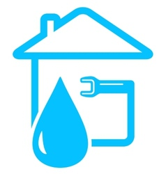 plumbing icon with drop of water and spanner vector image vector image