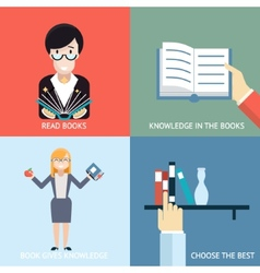 Reading Books Signs and Symbols Icons Hands vector image vector image