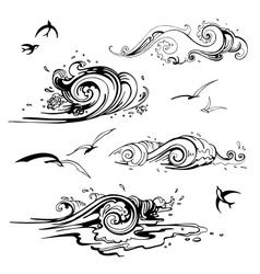 Sea waves set hand drawn vector