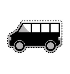 sticker monochrome with silhouette of van vector image