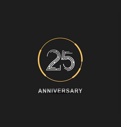 25 anniversary logotype with silver number vector