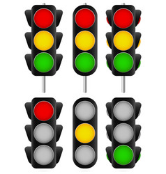 3 different traffic light set isolated and vector