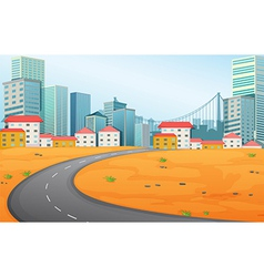 A narrow road going to city vector
