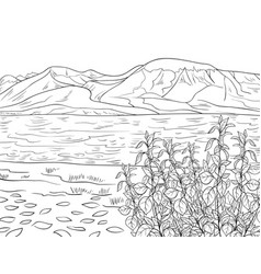 Adult coloring bookpage a cute summer landscape vector
