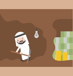 arab businessman and pickaxe give up for money vector image