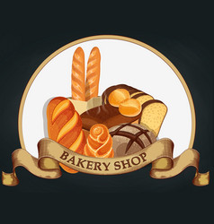 Baking shop emblem bread logo for bakery shop vector