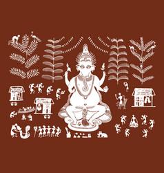 beautiful warli painting in form and lord ganesha vector image