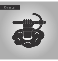 Black and white style icon hammer in hand vector