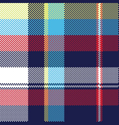 Blue check pixel fabric texture seamless pattern vector